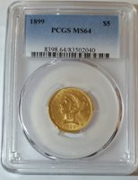 1899 MS64 $5 Liberty Gold - ONLY 903 PCGS SPECIMENS EXIST THIS GRADE!