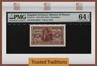 2 Drachmai 1917 Kingdom Of Greece Pmg 64 Epq Surviving Over A Century!