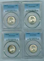 4 Different Date PCGS MS65 Silver Washington 25 Cent 1941P 1947S 1948D & 1964D