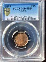 Ceylon: RED BU half cent 1904 PCGS MS63 RB