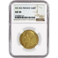 AN XI-A G40F 40 Francs Gold Paris Mint France Napoleon I Premier Consul NGC AU50