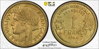 1944 French West Africa 1F One (1) Franc PCGS MS 63 Witter Coin