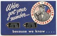 Rare 1953 Massachusetts DAV Mini-License Plate Key Fob. Plates on Original Mailing Card.