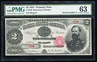FR.356 1891 $2 TREASURY NOTE PMG63 CHOICE CU LOW SERIAL #B8
