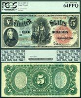 US Currency 1869 $5 Legal Tender USN Rainbow Woodchopper FR-64