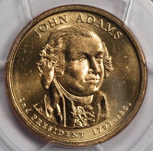 JOHN ADAMS DOUBLE EDGE LETTERING NGC MS64 OVERLAPPED MINT ERROR DOLLAR COIN