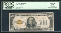 FR. 2407 1928 $500 FIVE HUNDRED DOLLARS GOLD CERTIFICATE PCGS VERY FINE-25