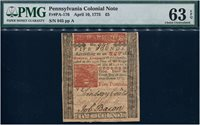 4/10/1775. PA-176. 5 Pounds Workhouse issue. PMG Choice Uncirculated 63EPQ. Intense red print. Serial 945.