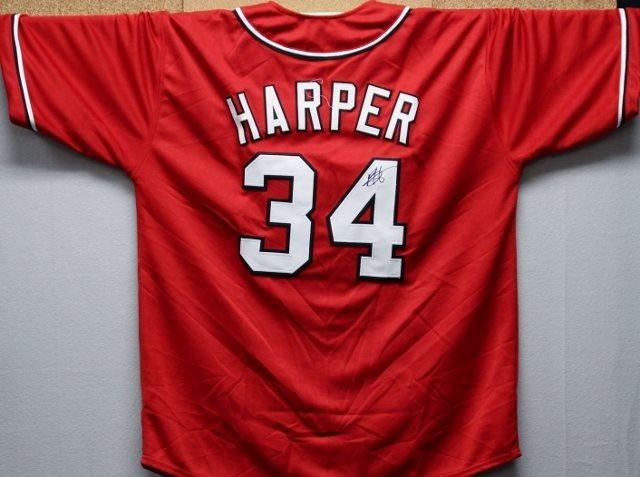 half off 57b1c cbb80 Bryce Harper Autographed Nationals Jersey