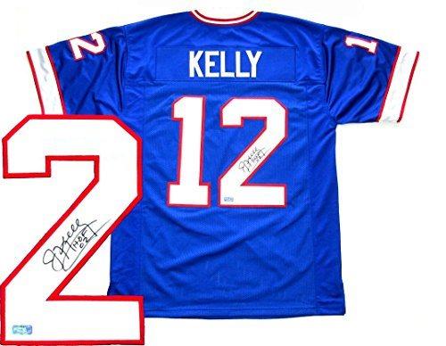 promo code df2de 604f8 Jim Kelly Signed Buffalo Bills Throwback Blue Custom Jersey with