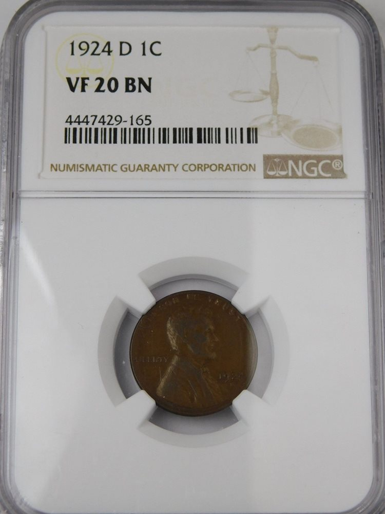 1924-D 1c Lincoln Wheat Cent Penny VG Very Good