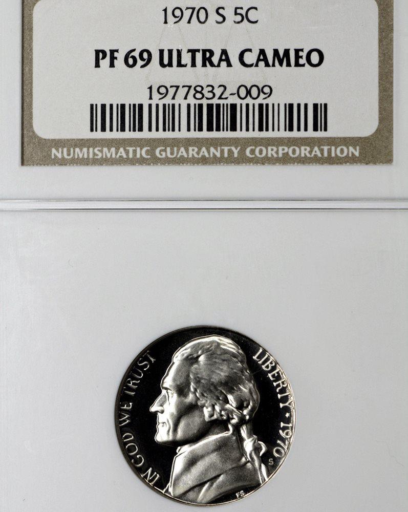 1970 S Proof Jefferson Nickel PCGS PR69