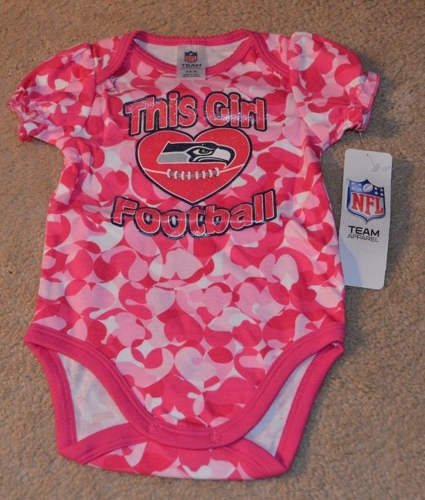 best sneakers 6bf44 a7491 Seattle Seahawks Baby Girl Loves Football Camo Bodysuit New 18 Months