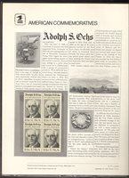 1700 13c Adolph S. Ochs USPS Cat. # 70 Commemorative Panel[cp070]