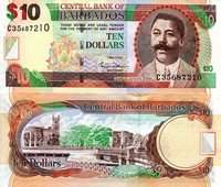 """Barbados 10 Dollars Pick #: 68a 2007 UNCOther Caribbean Islands Currency Brown/Green Williams Signature - Duncan O'Neal; Trafalgar Square (Barbados, not London)Note 6"""" x 2 1/2"""" North and Central America Map"""