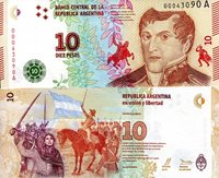 """Argentina 10 Pesos Pick #: 360 2016 UNCOther New Series - Series A Multicolored Manuel Belgrano in military uniform; Small depiction of drummer boy and man on horse; Juana Azurduy de Padilla and Manuel Belgrano on horseback with swords raised to new flag; CrestNote 6"""" x 2 1/2"""" South America Leopard"""