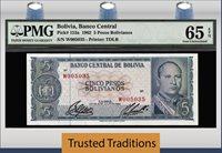 5 Pesos Bolivianos 1962 Bolivia Pmg 65 Epq Gem Population One