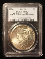 1926 Peace Dollar PCGS MS63 Top 50 VAM 2 Doubled Reverse Variety