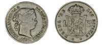 1 Real Ag. Isabella II - Isabel Ii. Barcelona 1857. VF/VF