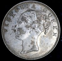 1840 - VICTORIA RUPEE - EF - REVERSE WITH 19 BERRIES, BUD AND NO MINT MARK
