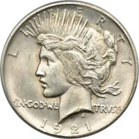 1921 High Relief Peace Dollar MS 64, PCGS S$1 C00047253