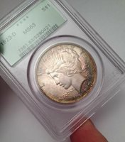 1923-D Silver Peace Dollar - PCGS MS 63 OGH - Beautiful Rainbow Toning All Over!