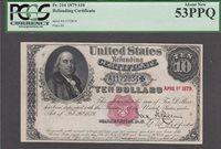 FR.-214 1879 $10 Refunding Certificate PCGS 53PPQ