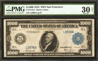 1918 $1000 VF 30 Fr.1133L Fed Reserve Note San Francisco Hi Grade LOWEST by far