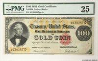 1882 $100 Gold Certificate FR#1214 PMG VF25 FR#1214 Teehee Burke S/N M1390357