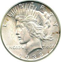 1935 S Peace Dollars Dollar MS65 PCGS