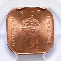 1 CENT 1943, MALAYA, PCGS MS64 RD