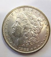 1882 O CH BU MORGAN DOLLAR WOW LIST VAM 17B Clashed Obv. st, Die Break U 4