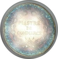 1909-A French Indochina 1 Piastre Silver ICG AU53 Toner Beautiful Toning