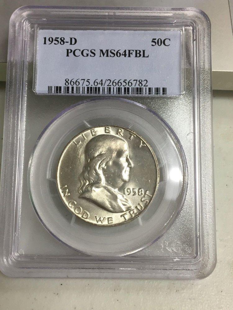 1958-D PCGS MS64 FBL Franklin Half Dollar 100/% White