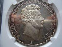 PROOFLIKE Brunswick 2 Taler 1856 25.th anniversary NGC MS63 PL #A3