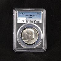 1976 S Kennedy Silver Half Dollar, PCGS MS66, Graded in Holder, Gem Uncirculated, Bi-Centennial Coin