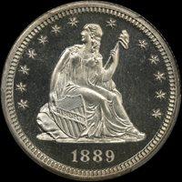 1889 25C PR67+CAM PCGS