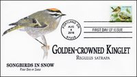 2016, Songbirds in Snow, Golden-crowned Kinglet, FDC, 16-242