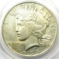 1934-S Peace Silver Dollar $1 - Certified ANACS AU50 Details - Rare Date in AU!