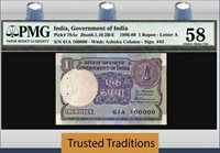 1 Rupee 1986-89 India Stunning Serial 100000 Pmg 58 Choice About Unc