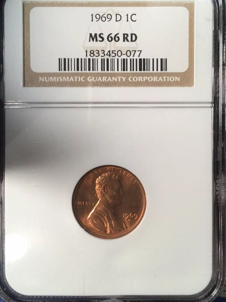 1969-D MS 66 LINCOLN MEMORIAL PENNY CENT BRILLIANT CERTIFIED NGC