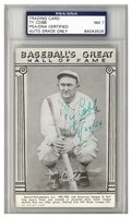 Ty Cobb Autographed Signed Baseball's Great Hall Of Fame Exhibit Card Detroit Tigers 9/24/54 Auto Grade 7 - PSA/DNA AuthenticCUSTOM FRAME YOUR JERSEY