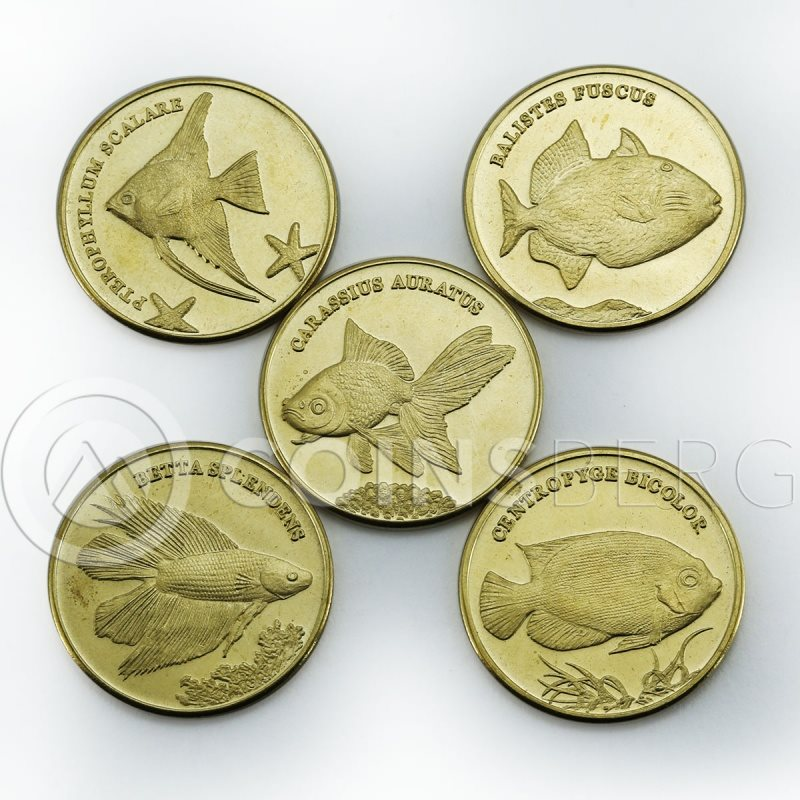 Maluku set of 5 coins Fishes Marine Life coin 2016