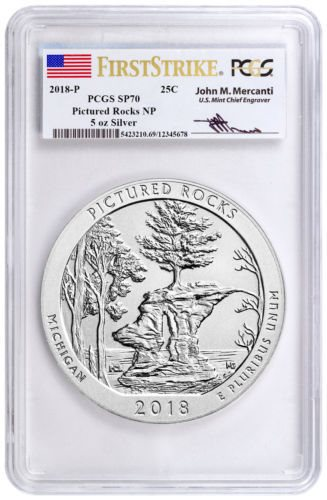 2018 P Pictured Rocks NP 5 Oz Silver ATB 25C PCGS SP 70 First Strike