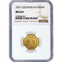 1931 Ducat Gold Czechoslovakia Republic .1106 oz NGC MS64+ POP 1
