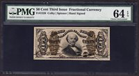US 50¢ Fractional Currency Note 3rd Issue FR 1328 PMG 64 EPQ VCh CU