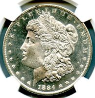 1884-O $1 Morgan Dollar, NGC MS-65 Deep Mirror Proof Like. Wow! This is an absolutely blast white blazer -- a real monster coin. It looks MUCH better than the pictures. Very attractive Morgan DMPL Dollar, and at a great price. Write for higher quality scan or layaway options. Zero problems guaranteed. Free Shipping.