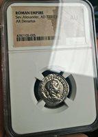 Roman Republic NGC AU Silver Denarius Severus Alexander 222-235 A.D. SUPERB Rare