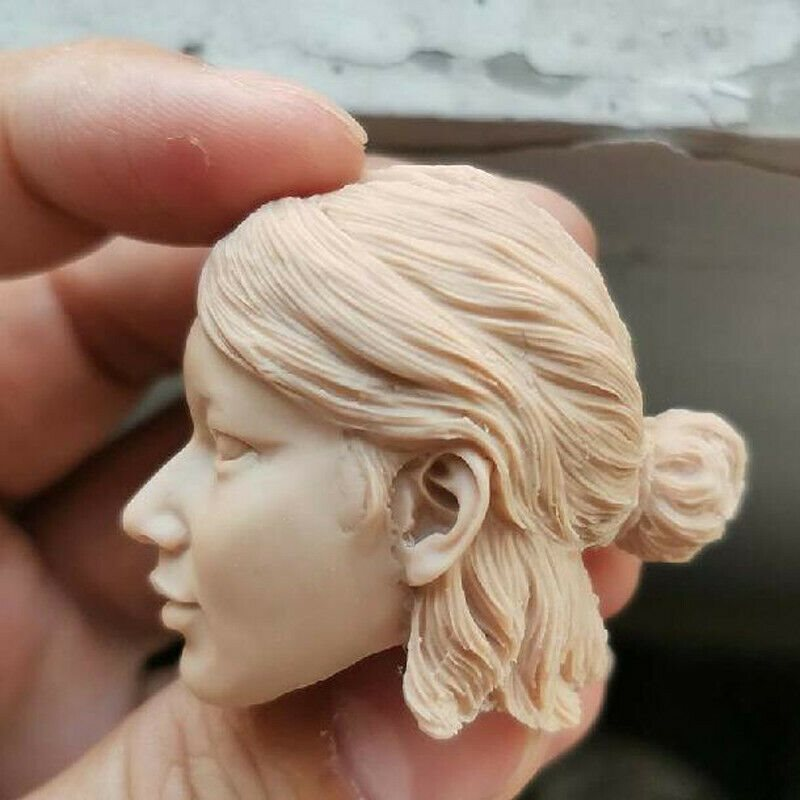 Blank 1//6 Scale Asian Female Binding Hair Girl Head Sculpt Unpainted Fit 12/""