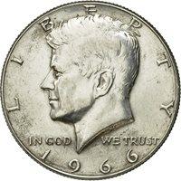 Coin, United States, Kennedy Half Dollar, Half Dollar, 1966, U.S. Mint